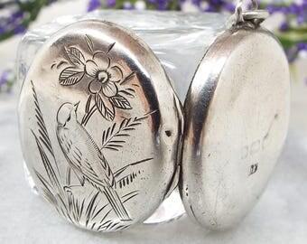 Antique Victorian Sterling Silver Engraved Bird Flower Woodland Locket Necklace