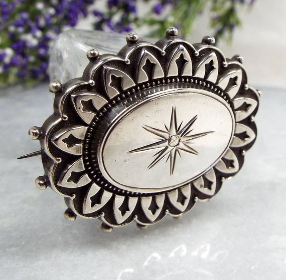 Antique Victorian Sterling Silver Ornate Pinwheel Flower Star Brooch Pin 925