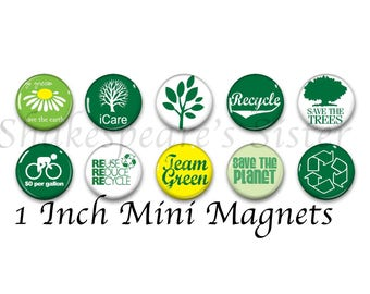 Recycle Magnets - Fridge Magnets - Go Green - 10 Magnets - 1 Inch Mini Magnets - Kitchen Magnet