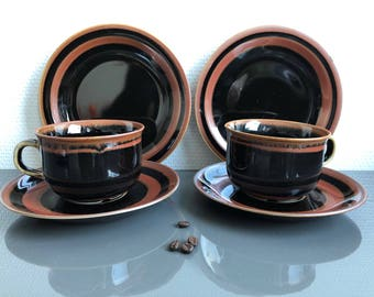 Viking Rörstrand coffee cups and saucers des Carl Harry Stålhane Sweden - mid century 60s. 6 pieces.