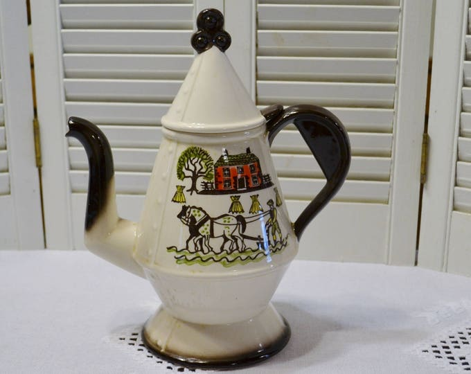 Vintage Metlox Homestead Provincial Coffee Pot with Lid Farm Country Life Horse California PotteryPanchosPorch