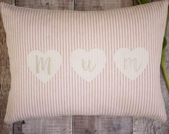 personalised cushion, gift for mothers day, gift for mum, pink cushion, embroidered cushion, mothers day gift, gift for Nan, Nan cushion