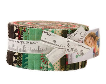 """Berry Merry Jelly Roll by Basic Grey for Moda, 40 - 2 1/2"""" x 42"""" strips"""