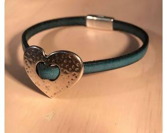 Blue Leather Bracelet, Hammered Silver Heart