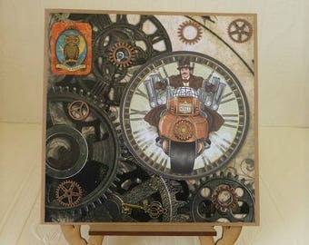 Steampunk Birthday Card, for Husband, Son, Dad, Grandad, etc.