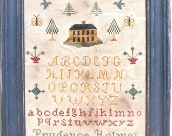 Primitive cross stitch, sampler chart/pattern,primitive needlework, schoolgirl sampler, early American , Prudence Holmes