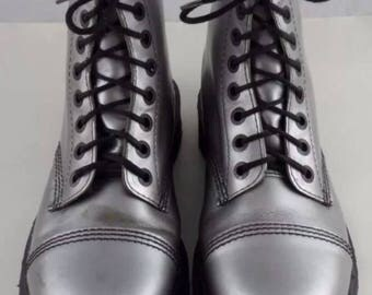 Vintage Doc Martin's RARE Silver colored Leather  UK Size 8 US Women's 10