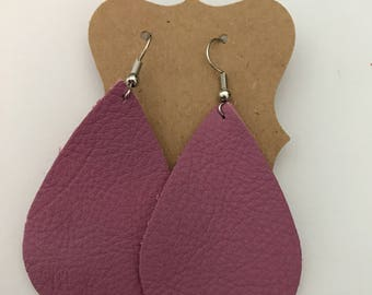 Mauve purple teardrop leather earrings | gifts for her | bridesmaid gifts