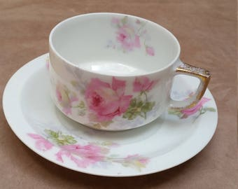 Thomas Porcelain Teacup and Saucer Set with Roses and Buds.  Early 20thC. Rosenthal.