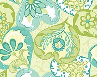 CARINA - Heart to Heart in Light Blue and Green - Cotton Hearts Quilt Fabric - Amanda Murphy Designs for Benartex Fabrics - 6182-50 (W3870)