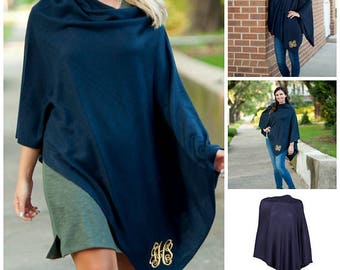 Black. Navy. Taupe Chelsea Poncho. Monogrammed Poncho. Personalized Poncho.