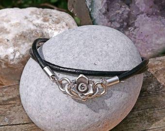 Pandora style leather and 925 Sterling silver charm bracelet.Karen hill tribe rose clasp.Double wrap.Thomas Sabo,Pandora,European charms