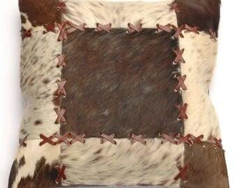 Natural Cowhide Luxurious Patchwork Hairon Cushion/pillow Cover (15''x 15'')a205