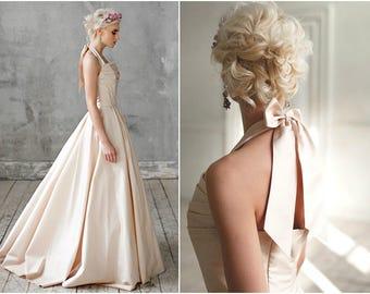 Amond / Wedding dress low back wedding dress taffeta wedding dress quinceanera wedding dress Romantic wedding dress open back wedding dress