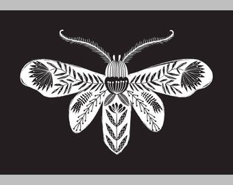 Folk art moth giclee print illustration black background tattoo style design A4 size