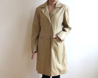 ON SALE Sand Beige Faux Leather Trench Coat Womens Raincoat Lining Classic Large Size