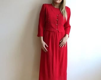 ON SALE Vintage 1980s Crimson Red Long Tie Up Dress Long Sleeve Pleated Skirt Hot red Dress Large Size