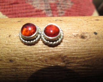 Amber and Sterling Stud Earrings