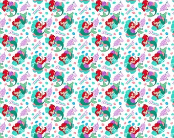 Little Mermaid fabric, Ariel fabric, Disney fabric, Disney knit fabric
