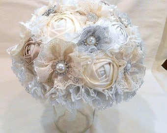 Wedding Bouquet, Bridal Bouquet, Fabric Bouquet, Lace Bouquet, Fabric Bouquet, Ivory and Champagne Roses with Silver