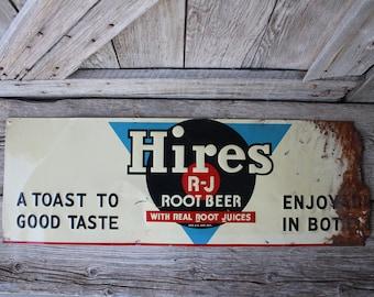 Mid Century Original Hires R-J Root Beer Soda Metal Advertising Sign
