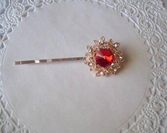 Red Rhinestone Hair Pin (350) - Jeweled Hair Pin - Repurposed Jewelry
