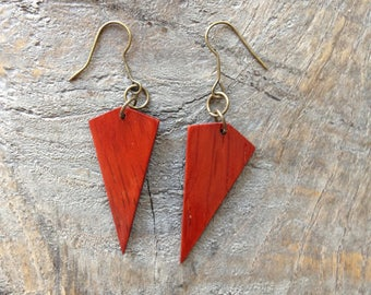 Earrings in padouk