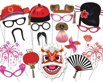 chinese new year party photo booth party props set 35 piece printable year of - Chinese New Year Decorations
