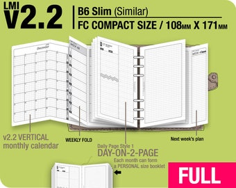 Full [FC compact / B6 slim v2.2 w DS1 do2p] January to December 2018 - Filofax Inserts Refills Printable Binder Planner Midori.