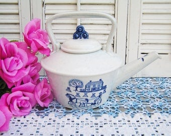 Vintage Provincial Blue Poppy Trail by Metlox Teapot Country Kitchen Blue and White Transferware Teapot Pottery Teapot Farm Scene Teapot
