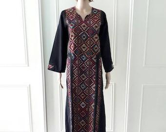 Boho vintage dress 1960's vintage dress patterned dress maxi dress festival dress size small (12/14)