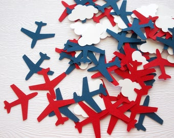 Airplane Confetti, Airplane Birthday, Airplane & Cloud Cutouts, Party Decoration, Table Confetti, 100