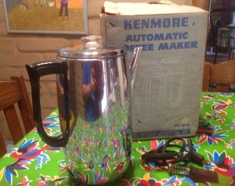 Vintage Sears Kenmore Automatic Chrome Plated Coffee Maker in original box