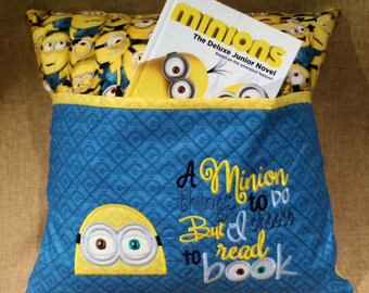 Child's Bed Pillow - Minion - Reading Pillow  -  Embroidered Pillow Pocket  - Hypoallergenic -  Travel Pillow - Storybook Pillow