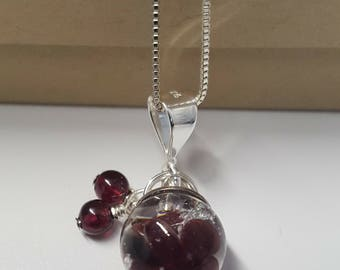 Sterling Silver Glass Orb Garnet Pendant (W)