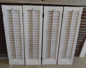 Set of 4 Wood Shutters - puppy love and white distressed