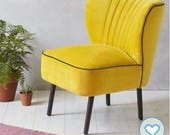 Fully restored yellow velvet  coctail chair from 1970's