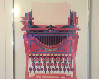 "A Lithograph from an original silkscreen print by Anne Duncan "" Red Writer ""1975"
