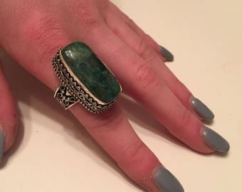 Jewelry Sale: Large Green Turquoise Ring - Vintage Green Turquoise Ring - Silver Large Green Turquoise Ring - Turquoise Ring Size 7.75