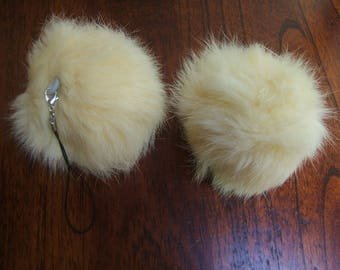 2 tassels rabbit diameter 8 cm with clasp removable unbleached