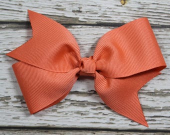 NEW Solid Coral Basic Boutique Hair Bow on Lined Alligator Clip