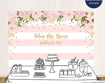 Floral Bridal Shower Backdrop Gold And Pink Dessert Table Banner Any Event Watercolor Flowers Garden Printed Or Printable File BBR0001
