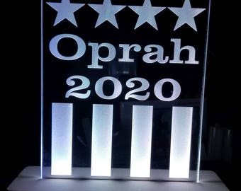 OPRAH 2020 Acrylic Leds Sign Laser Engraved - USB Desk Model - Multiple Colors - Remote Control - 6 inches wide fast shipping oprah