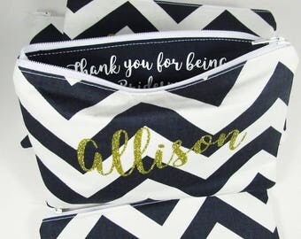 Thank you for being my Bridesmaid - Maid of Honor - Makeup bag - Personalized Pouch - Thank you Gift - Mother of Groom Gift - Medium