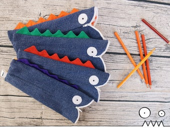 Pencil case, Fantasio the Dragon, blue --- upcycled pencil case, eco freindly, school supplies, teacher gift, Handmade by Les Funky