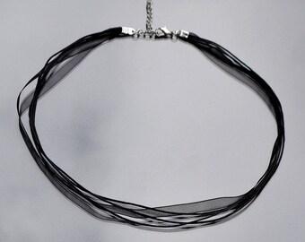 Black Necklace (organza + waxed cord)
