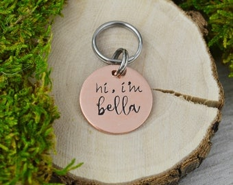 Hand Stamped Pet ID Tag • Personalized Pet/Dog Tag • Dog Collar Name Tag • Custom Engraved Dog Tag