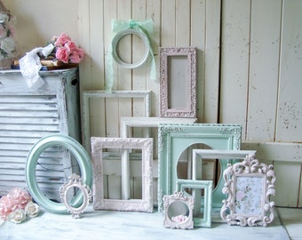 Pink and Mint Nursery Frame Set, Antique White, Baby Pink and Light Mint Green Vintage Frame Gallery, Cottage Chic Ornate Frames Pink Mirror