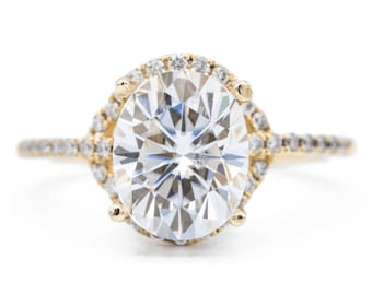 10x8mm Oval Moissanite 14K Yellow Gold 4 Prong Halo Side Diamonds Engagement Ring 3.30 CTTW