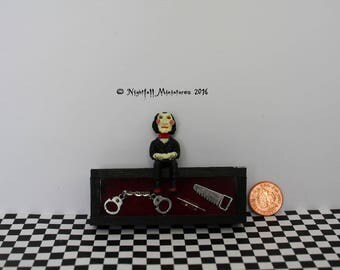 Miniature Horror SAW Inspired wooden box with Saw Doll